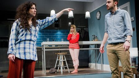 l-r: Jenna Augen, Gina Bramhill and Ilan Goodman in Bad Jews at the St. James Theatre. Picture: Robe