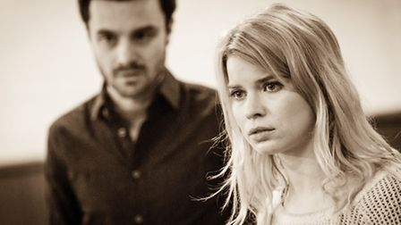Ilan Goodman (Liam) and Gina Bramhill (Melody) in rehearsals for Bad Jews at the St. James Theatre.