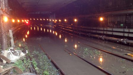 The flooding on the Thameslink line in the Clerkenwell Tunnel