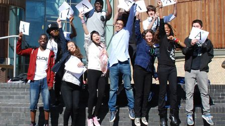 Highbury Grove pupils celebrate their GCSE results in August