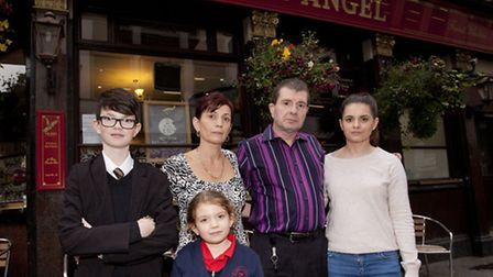 Landlord Brendan Cluskey with his wife Deirdre and children Sarah, right, Rosie, and Joe