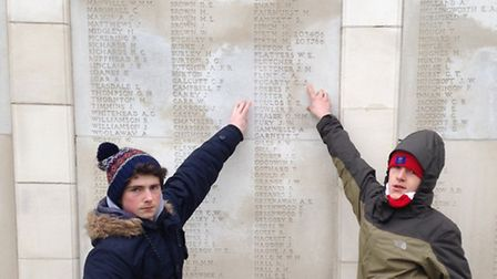 Danny Swan and Leon Cresto-Dina, both 15, from St Aloysius College, Highgate, at Tyne Cot. Picture: