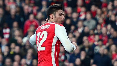 Arsenal's Olivier Giroud scores his side's first goal against Middlesbrough
