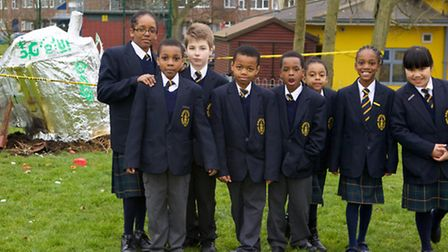 Pupils from St Mary's, Garnet Road, are investigating the strange appearance of a UFO in their playg