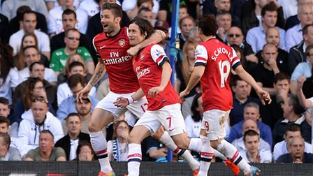 Arsenal's Tomas Rosicky celebrates scoring the opening goal of the game in the fixture last season.