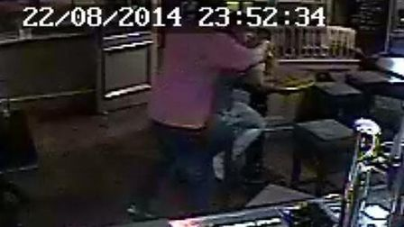 Shocking: A CCTV image of the brutal attack that left a man needing 50 stitches to his face