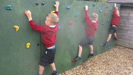 Pakefield Primary School has officially opened its new climbing wall. Picture: Pakefield Primary Sch