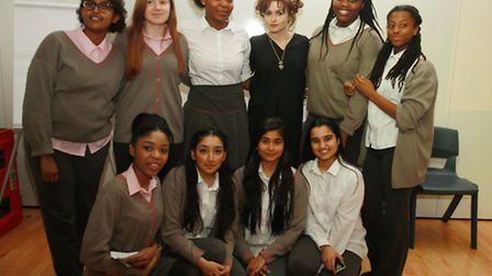 Helena Bonham Carter poses with students from Elizabeth Garrett Anderson - one of the schools to rec