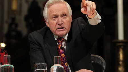 Chair David Dimbleby during a warm-up question before the recording of BBC Question Time. Photograph