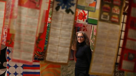 Pae White amongst her scarves collection. Picture: Peter Macdiarmid