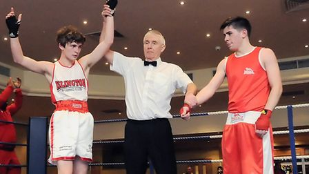 Islington BC's Alfy Andrews (left) is awarded the decision against Charlie Corcoran (Dale Youth)