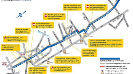 The propsed route of the new cycle superhighway