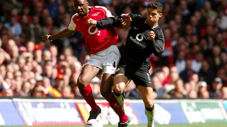 Arsenal's Patrick Vieira and Manchester United's Cristiano Ronaldo battle for the ball in the 2005 F