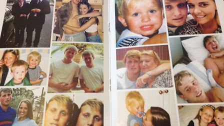 Family photos in the book handed out to mourners at Henry Hicks' funeral