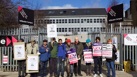 Staff striking outside the Willesden campus in Dudden Hill Lane (Pic credit: Adam Thomas)