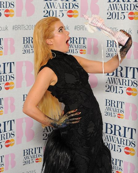 Paloma Faith with her award for Best British Solo Artist in the press room at the 2015 Brit Awards a