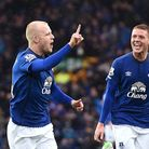 Everton's Steven Naismith celebrates after scoring against Leicester in the 2-2 draw at Goodison Par