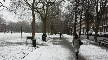 Highbury Fields enjoyed a smattering of snow Pic: Christopher Roe