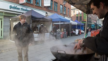 A general view of Exmouth Market in London EC1R showing Gulsham Tandori restaurant which has been fo
