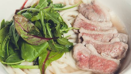 A typical example of a duck udon