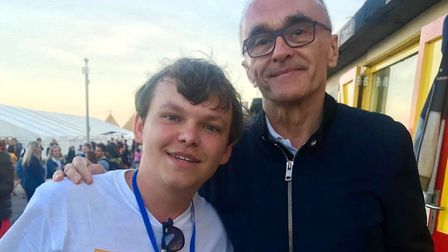 Joshua Freemantle, left, at the First Light Festival with Danny Boyle. Picture: Courtesy of Joshua F