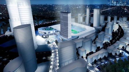 An image of QPR's new stadium, which is planned as part of the Old Oak Common development