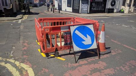 A small sinkhole has opened up in Lowestoft on Norwich Road at its junction with Avondale Road.