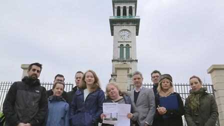 The Save Cally Park group in front of the clock tower in Caledonian Park