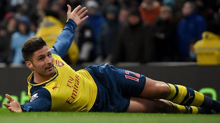 Arsenal's Olivier Giroud celebrates scoring his sides second goal of the game during the Barclays Pr