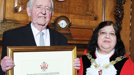 George Durack receiving his Freedom of the borough from Mayor Theresa Debono