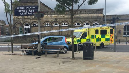 Three people were injured after a crash on Station Square in Lowestoft. Picture: Archant