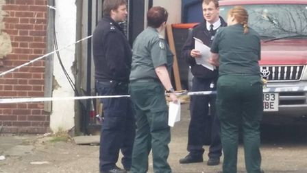 Police and medics at the scene in Neasden (Pic credit: Twitter@EOSBva)