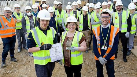 Emily Thornberry MP with apprentice of the year Dean Riley in King's Cross