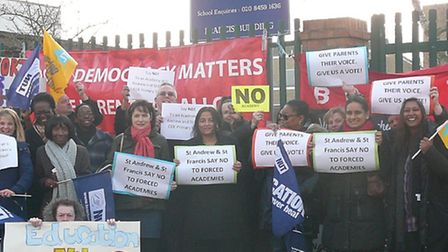 Staff and parents strike against St Andrew and St Francis CofE primary school in Willesden being tu