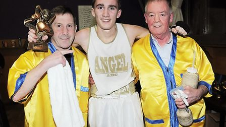 Angel ABC's Mark Kuderovitch with coaches Ivor Jones (left) and Colin Lake