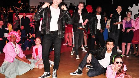 Year 13 pupil Ned Costello took the role of Danny Zucco in Queens Park Community School's performanc