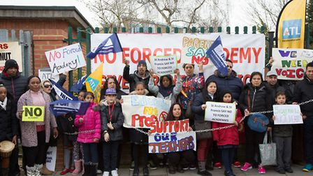 Parents, staff and children are taking part in a strike outside the school (Pic credit:Jonathan Gold