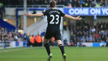 Everton's Seamus Coleman celebrates scoring his sides first goal of the game against QPR.