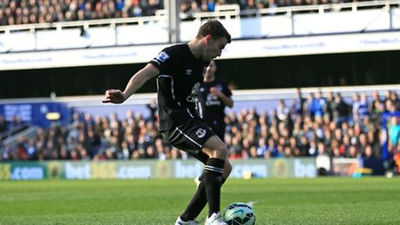 Everton's Seamus Coleman scores his sides first goal of the game against QPR at Loftus Road
