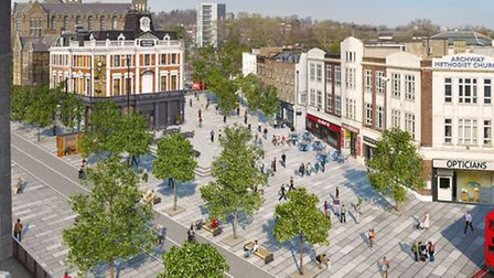 A computer image of Archway town centre when the gyratory is scrapped