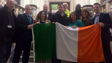 Islington councillors and members of the Irish community set to raise the Irish Flag for St Patrick'