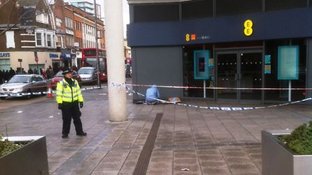 A small section of Wembley High Road was cordoned off following the stabbing