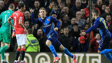 Arsenal's Nacho Monreal celebrates scoring his sides first goal of the game against Manchester Unite