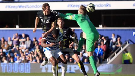 Tottenham Hotspur's Harry Kane scores his side's first goal of the game against QPR at Loftus Road