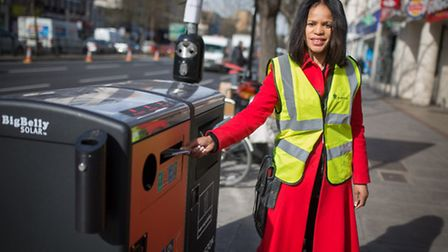 Cllr Claudia Webbe with one of Islington's first Big Belly bins, installed at Nag's Head as part of
