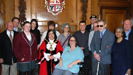 Photo of all the recipients of the Mayor's Civic Awards with Mayor Cllr Theresa Debono.