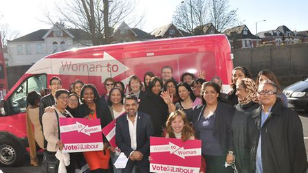 """The Pink Bus 'Woman to Woman"""" campaign stopped in Brent with Harriet Harman, deputy leader of the La"""