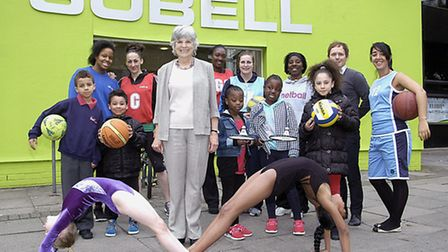 Cllr Janet Burgess and some young gymnasts outside the Sobell Centre