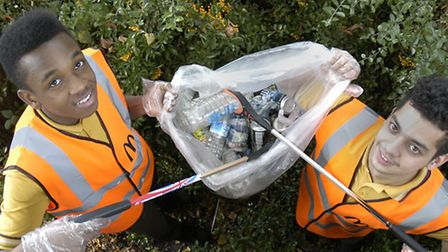 McDonalds staff take part in an Archway litter pick as part of Islington's spring clean