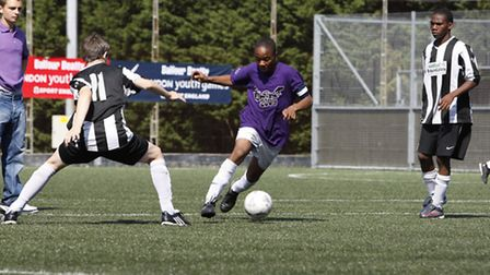 Raheem Sterling in action for Brent at the London Youth Games in 2009
